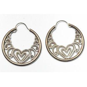 Vintage sterling silver Heart Hoop Style Earrings